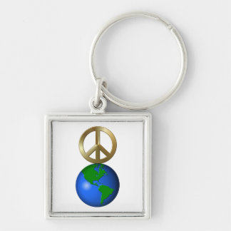 Peace on Earth Fun Rebus Style Word Puzzle Keychain