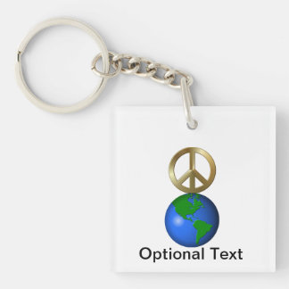 Peace on Earth Fun Rebus Style Word Puzzle Double-Sided Square Acrylic Keychain