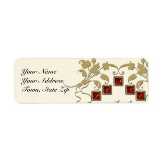 Peace on Earth Gold Floral Tiles Custom Return Address Label