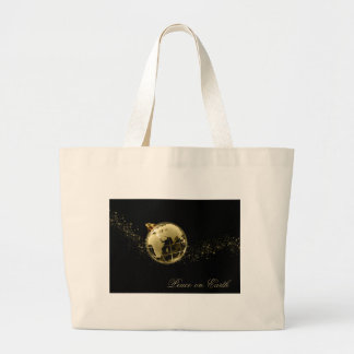 Peace on Earth Gold on Black Bag