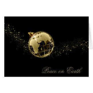 Peace on Earth Gold on Black Christmas Card