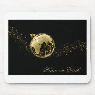 Peace on Earth Gold on Black Mouse Pad