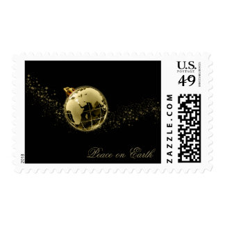 Peace on Earth Gold on Black Postage
