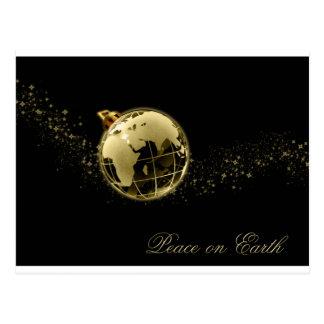 Peace on Earth Gold on Black Postcard