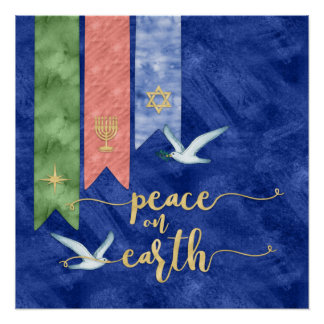 Peace on Earth Gold Typography Non-Denominational Poster