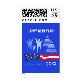 Peace on Earth. Happy New Year Postage Stamps