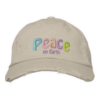 Peace On Earth, Hippie & Anti War Quote Embroidered Baseball Cap