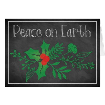 Professional Business Peace on Earth Holiday Card | Faux Chalkboard