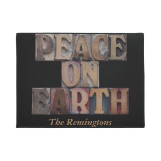 Peace on earth holiday doormat