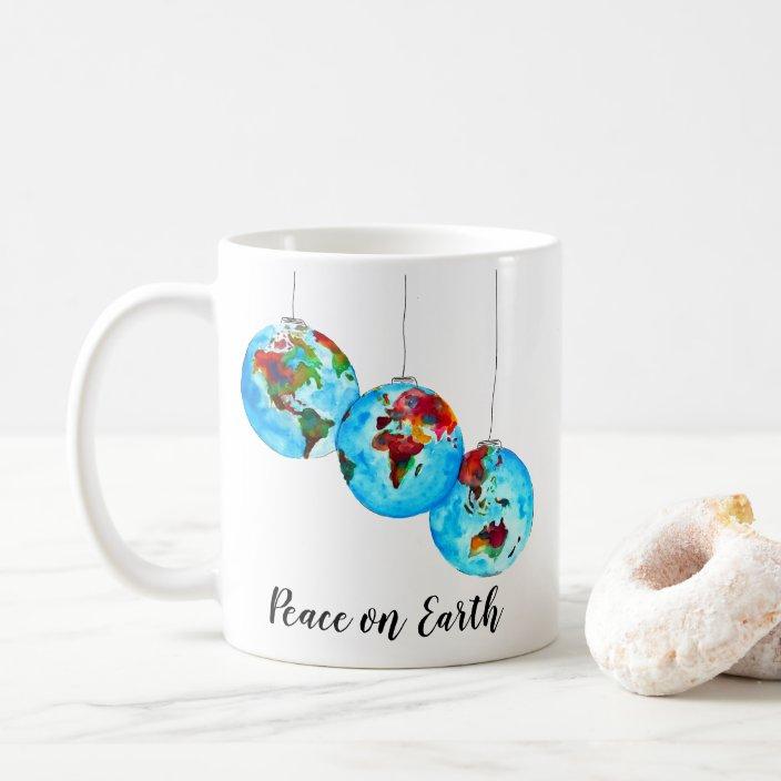 Peace On Earth Holiday Gift Christmas Watercolor Coffee Mug Zazzle Com