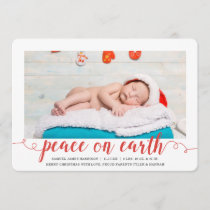 Peace on Earth Holiday Photo Birth Announcement