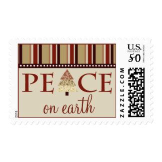 Peace on Earth Holiday Postage :: maroon (medium)