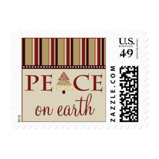 Peace on Earth Holiday Postage :: maroon (small)