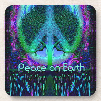 Peace on Earth in Blue and Purple Beverage Coaster