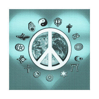 Peace on Earth in Teal Blue Canvas Print
