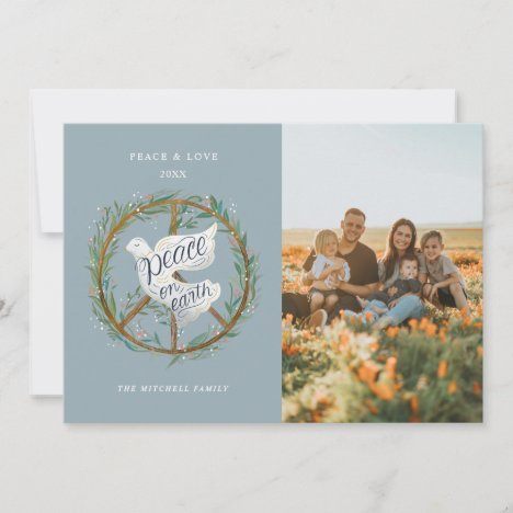 Peace on Earth Lettering Dove Peace Sign Photo Holiday Card