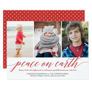Peace On Earth Luke 2:14 Verse Holiday 3-Photo Red Card