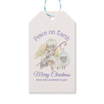 Peace on Earth Merry Christmas Angel Shepherd Gift Tags