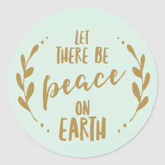 Peace on Earth, Mint and Gold | Holiday Seal Classic Round Sticker