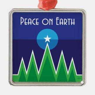 Peace on Earth Square Metal Christmas Ornament