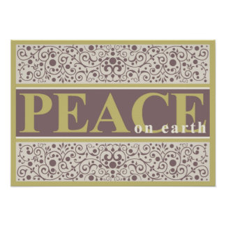 Peace on Earth Ornate Gold Purple Cream Christmas Poster