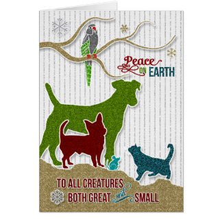 Peace on Earth Pet Lover Holiday Sticker Style Card
