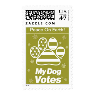 Peace On Earth Postage From My Dog Votes