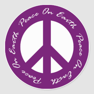 Peace On Earth Purple Holiday Peace Sign Classic Round Sticker