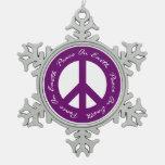 Peace On Earth Purple Holiday Peace Sign Ornament