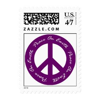 Peace On Earth Purple Holiday Peace Sign Postage
