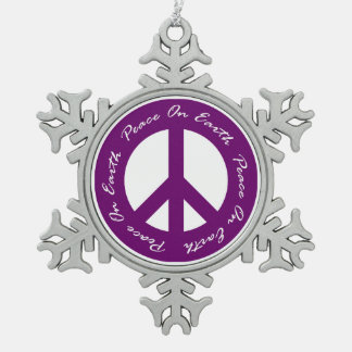 Peace On Earth Purple Holiday Peace Sign Snowflake Pewter Christmas Ornament