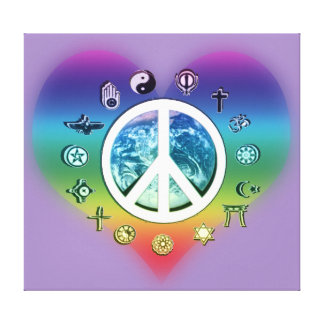 Peace on Earth Rainbow Heart Stretched Canvas Print