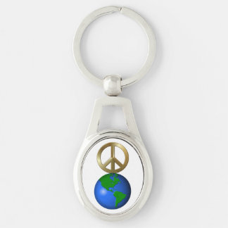 Peace on Earth Rebus Word Puzzle Silver-Colored Oval Metal Keychain