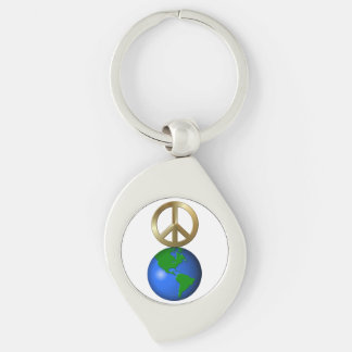 Peace on Earth Rebus Word Puzzle Silver-Colored Swirl Metal Keychain