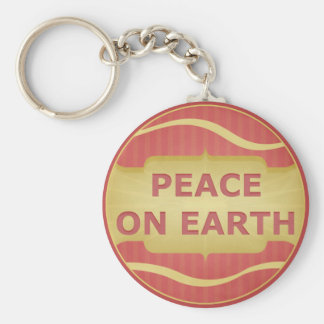 Peace on Earth Red Gold Elegant Keychain
