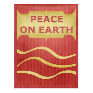 Peace on Earth Red Gold Elegant Postcard