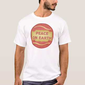 Peace on Earth Red Gold Elegant T-Shirt