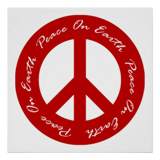Peace On Earth Red Holiday Peace Sign