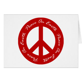 Peace On Earth Red Holiday Peace Sign Card