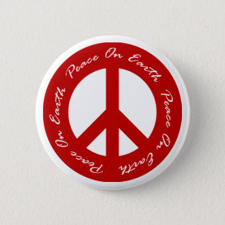 Peace On Earth Red Holiday Peace Sign Pinback Button