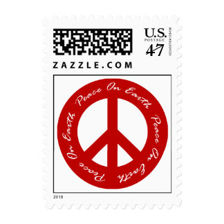 Peace On Earth Red Holiday Peace Sign Postage