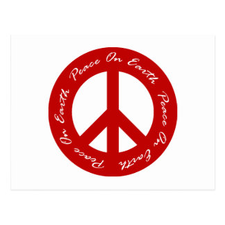 Peace On Earth Red Holiday Peace Sign Postcard