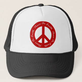 Peace On Earth Red Holiday Peace Sign Trucker Hat