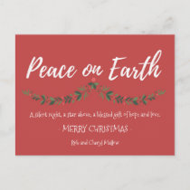 Peace on Earth Red Holly Christmas Postcard