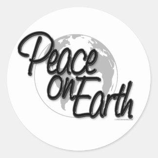Peace On Earth Script Lite Classic Round Sticker
