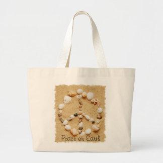 Peace on Earth Seashell Peace Sign Totebag Canvas Bags