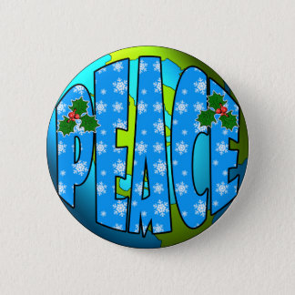 Peace on Earth Snowflakes Pinback Button