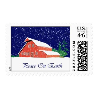 Peace On Earth Snowy Barn stamp