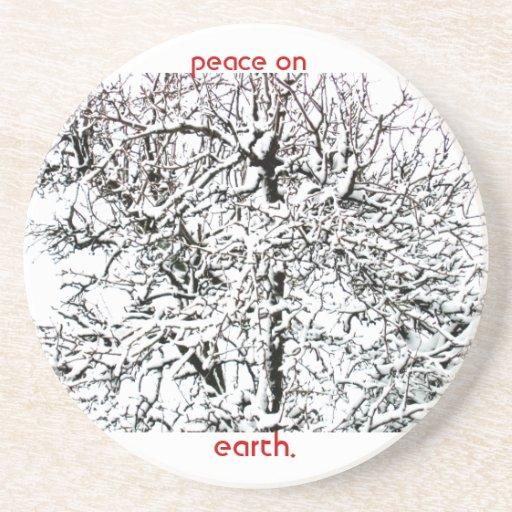 peace on earth tree beverage coasters