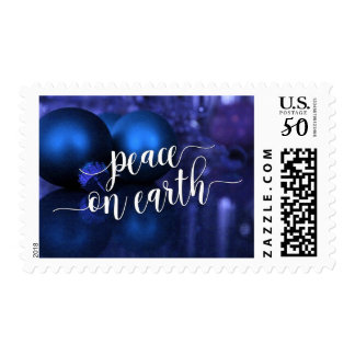Peace on Earth Typography, Blue & Purple Ornaments Postage